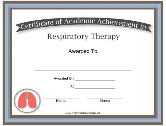 Respiratory Therapy Academic Achievement Certificate Template