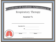 """Respiratory Therapy Academic Achievement Certificate Template"""