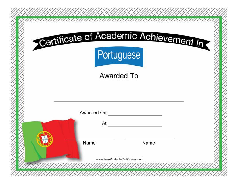 """Portuguese Language Certificate of Academic Achievement Template"" Download Pdf"