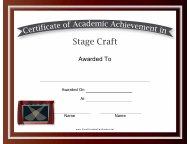 """Stage Craft Academic Achievement Certificate Template"""