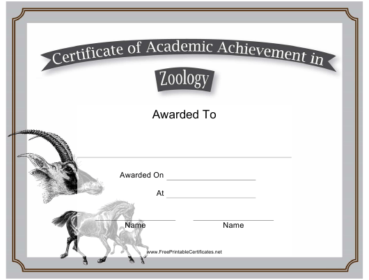 zoology academic achievement certificate template download printable