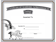 """Zoology Academic Achievement Certificate Template"""