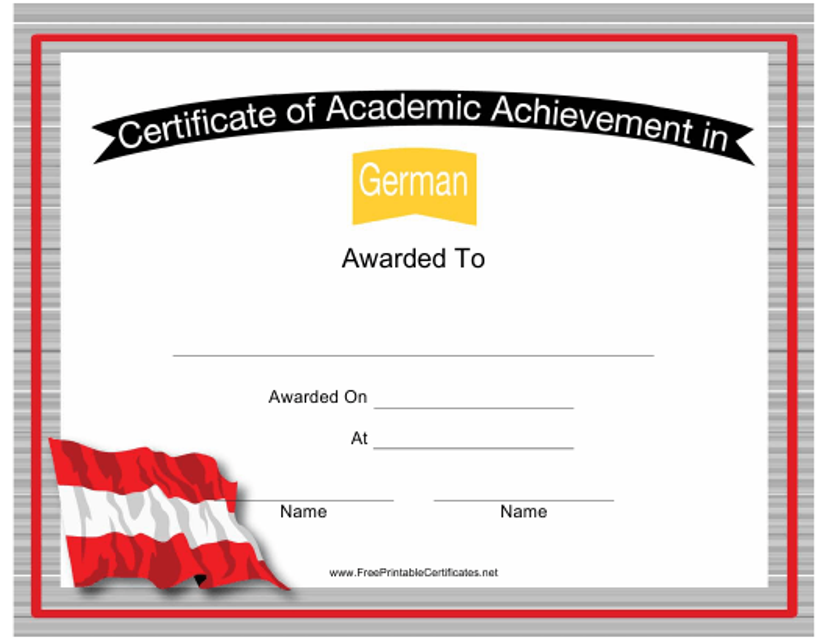 """German Language Cerfiticate of Achievement Template"" Download Pdf"
