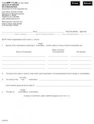 Form NFP 111.25 Articles of Merger or Consolidation - Illinois
