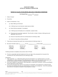 "Form OFR-S-10-91 ""Report of Sales of Securities and Use of Proceeds Therefrom"" - Florida"