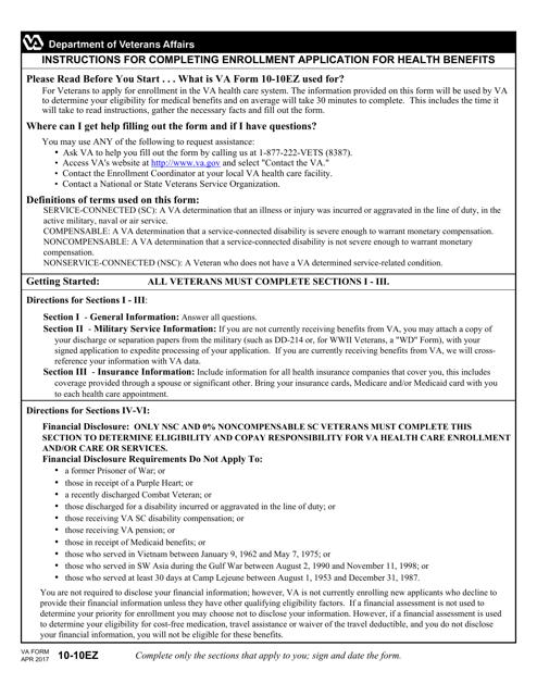 VA Form 10-10EZ Fillable Pdf