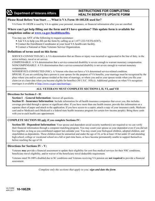 Va Form 10 10ezr Download Fillable Pdf Heath Benefits Update Form