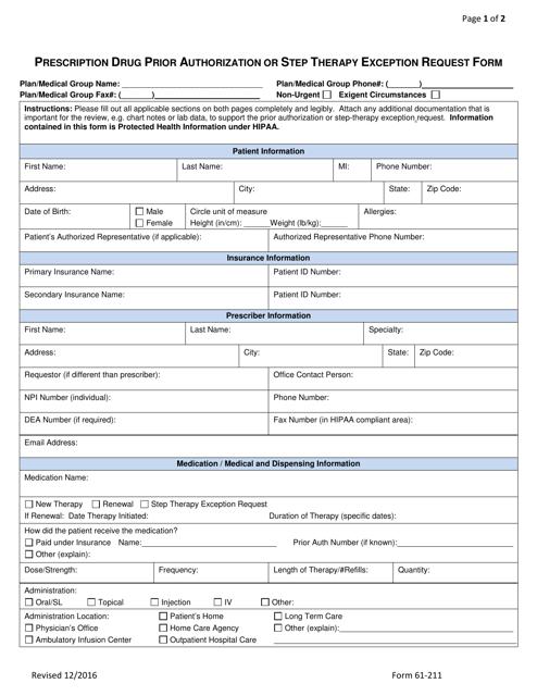 Form 61-211 Printable Pdf