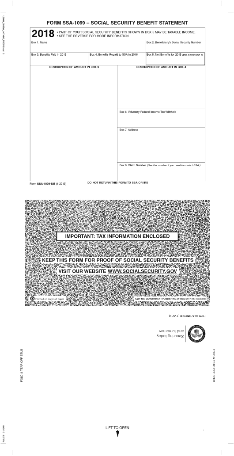Form SSA-1099 2018 Printable Pdf