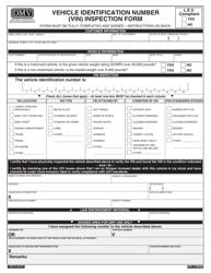 """Form 735-11 """"Vehicle Identification Number (Vin) Inspection Form"""" - Oregon"""