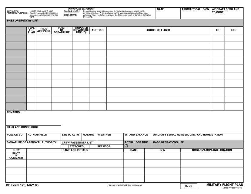 DD Form 175  Printable Pdf