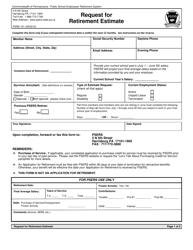 Form PSRS-151 Request for Retirement Estimate - Pennsylvania