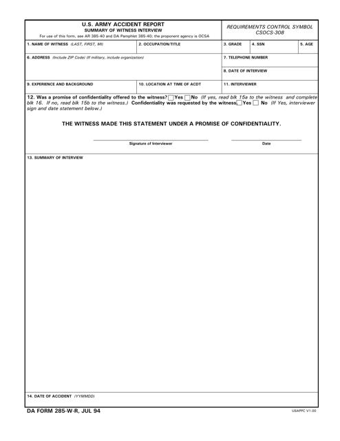 DA Form 285-w-r Printable Pdf