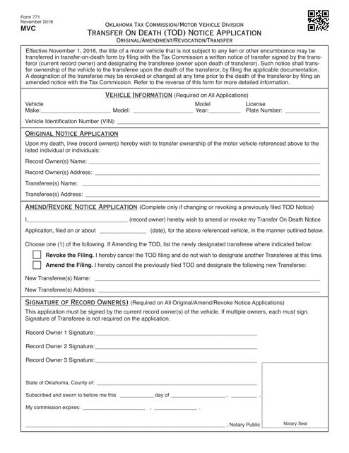 OTC Form 771 Fillable Pdf