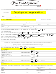 """Employment Application Form - Pro Food Systems"""