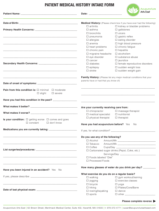 """Acupuncture Patient Medical History Intake Form - Acupuncture Arts East"" Download Pdf"