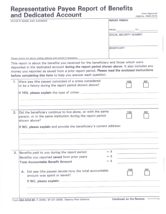 Form Ssa 6233 Bk Download Printable Pdf Or Fill Online Representative Payee Report Of Benefits And Dedicated Account Templateroller