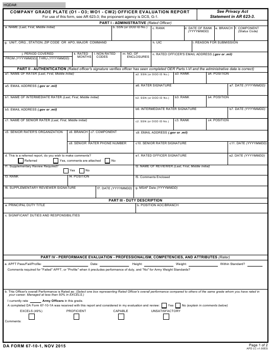DA Form 67-10-1  Fillable Pdf