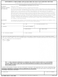 DA Form 3433-2 Supplemental-A Employment Application Form for Child-Youth Services Positions