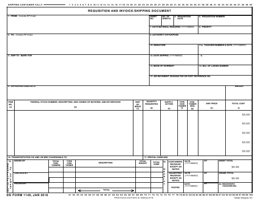 DD Form 1149  Printable Pdf