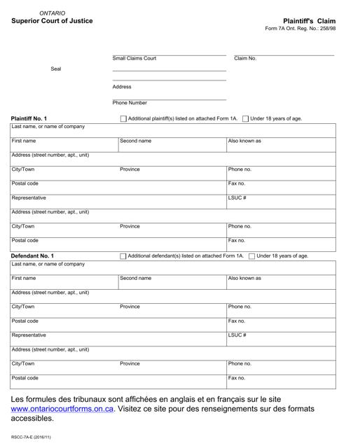 Form 7a Printable Pdf