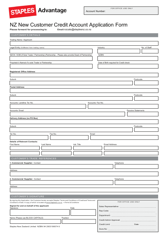 New Zealand Customer Credit Account Application Form ... on example job application letter, example order form, example proposal form,