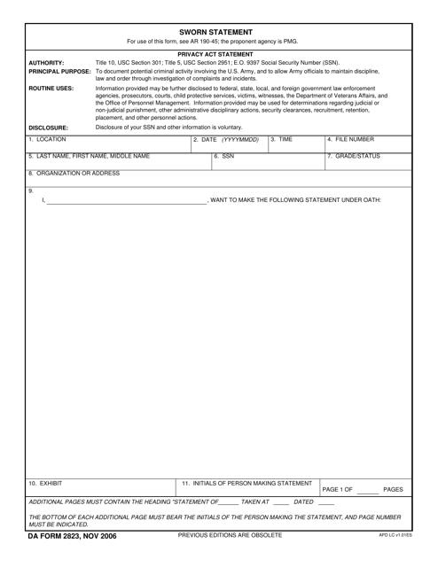 DA Form 2823  Printable Pdf