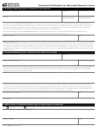 "PS Form 5980 ""Treatment Verification for Wounded Warriors Leave"""
