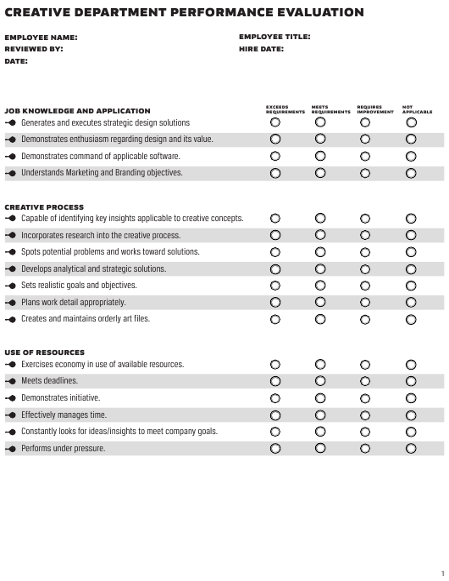 """Creative Department Performance Evaluation Form"" Download Pdf"