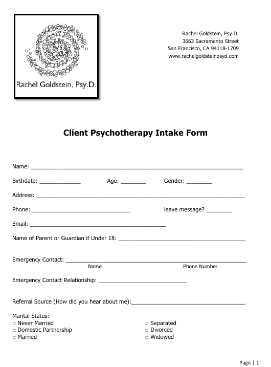 """""""Client Psychotherapy Intake Form - Rachel Goldstein, Psy. D."""" Download Pdf"""