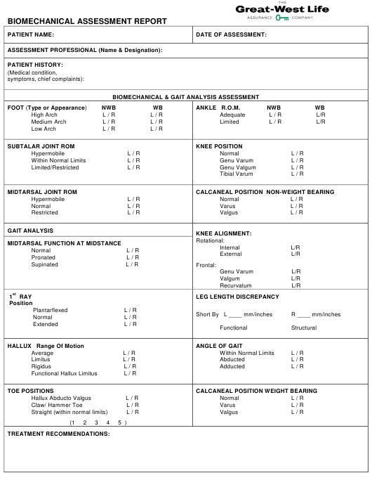 Biomechanical Assessment Report Form - Great-West Life