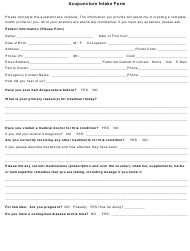 """""""Acupuncture Intake Form"""""""