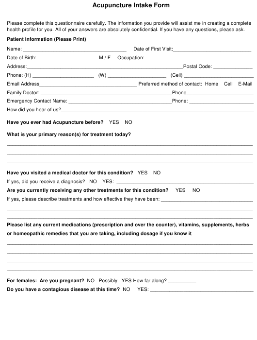 """""""Acupuncture Intake Form"""" Download Pdf"""