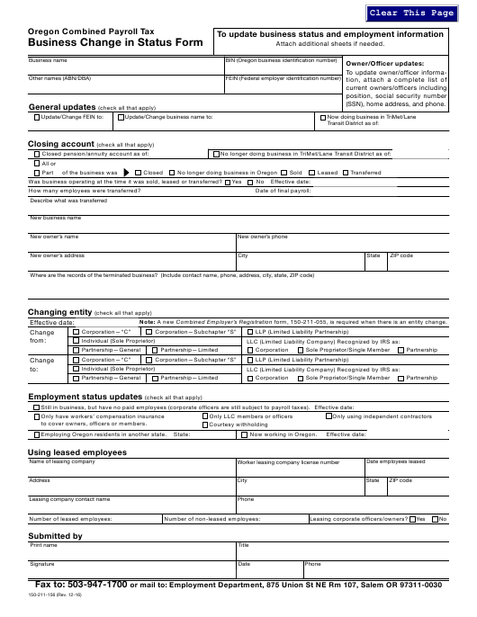 Form 150-211-156 Download Fillable PDF, Business Change in