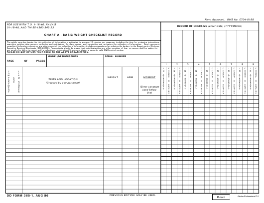 DD Form 365-1  Printable Pdf