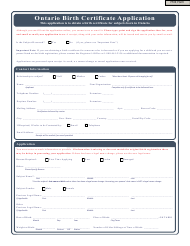 Birth Certificate Application Form - Ontario Canada