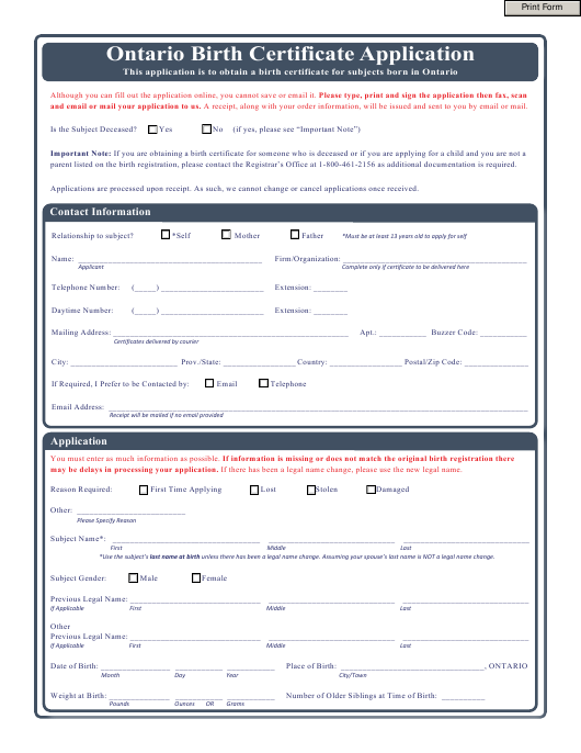 """Birth Certificate Application Form"" - Ontario, Canada Download Pdf"