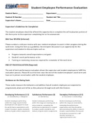 Student Employee Performance Evaluation Form - Division of Student Affairs