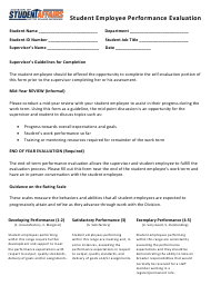 """""""Student Employee Performance Evaluation Form - Division of Student Affairs"""""""