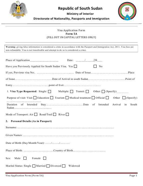 Form 5A Printable Pdf