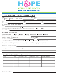 """""""Confidential Client Intake Form - Hope Counseling Center"""""""
