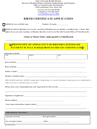 Birth Certificate Application Form - Nevada