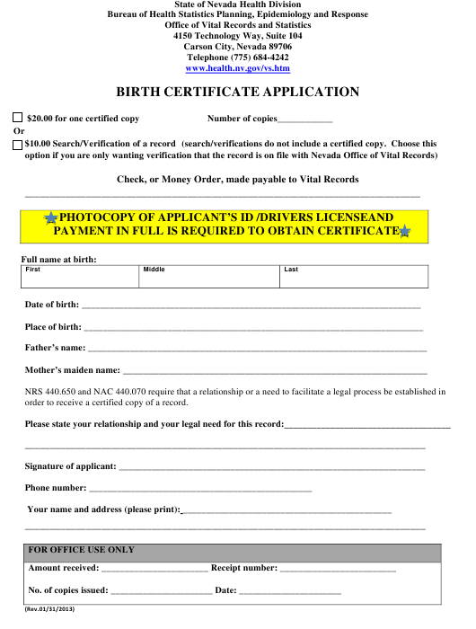 """Birth Certificate Application Form"" - Nevada Download Pdf"