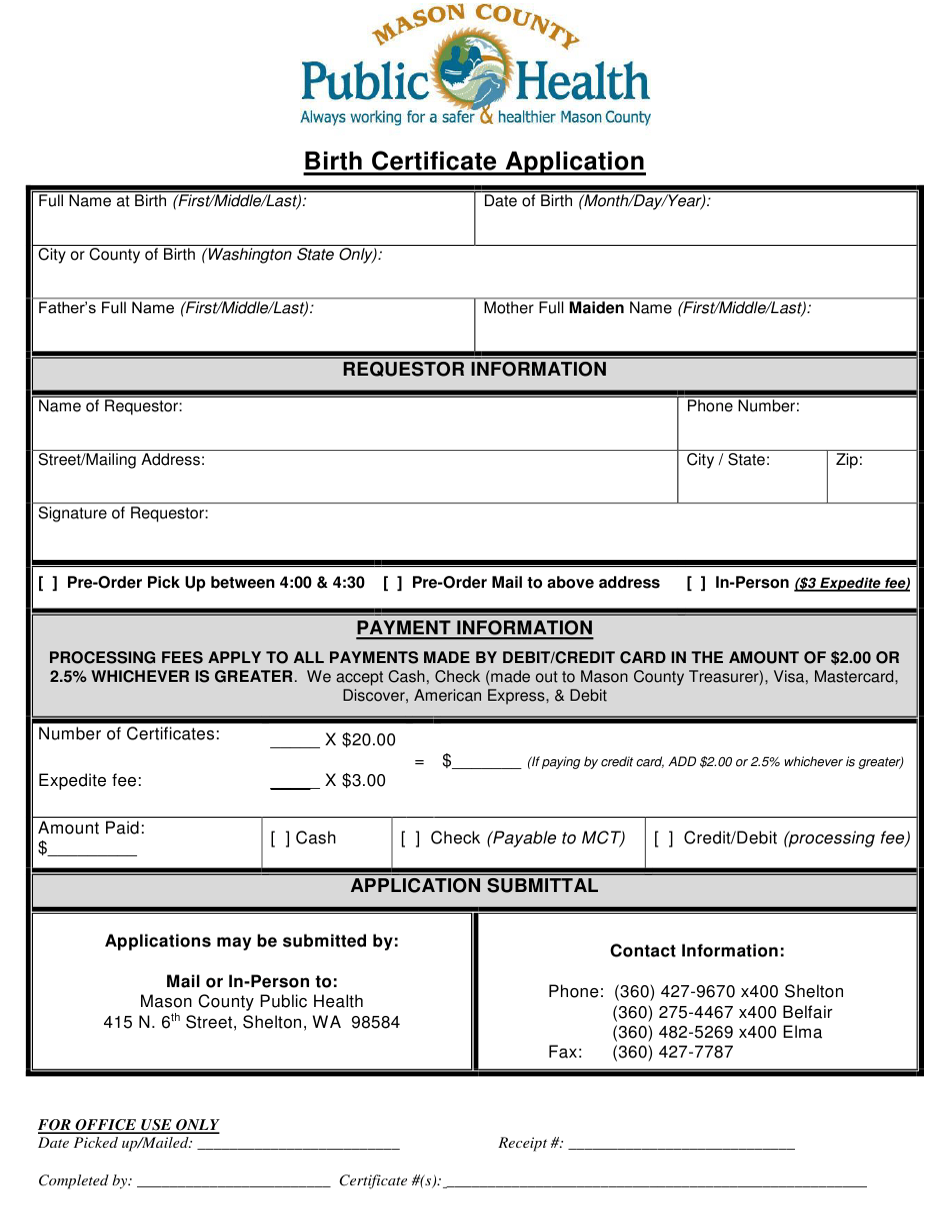 certificate birth washington form application mason templateroller county printable template