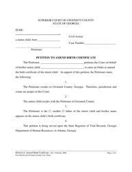 Petition to Amend Birth Certificate - Georgia
