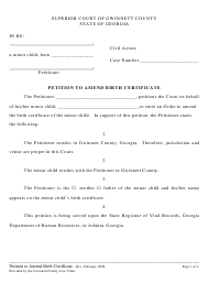"""Petition to Amend Birth Certificate"" - Georgia (United States)"