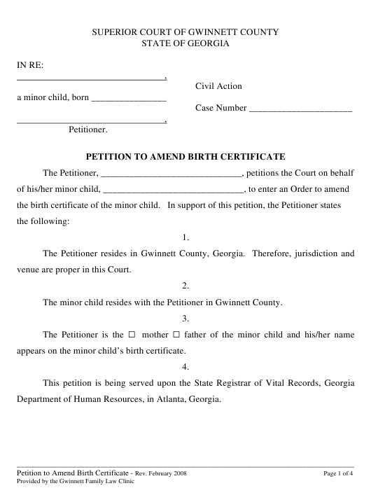 Petition to Amend Birth Certificate - Georgia Download Pdf