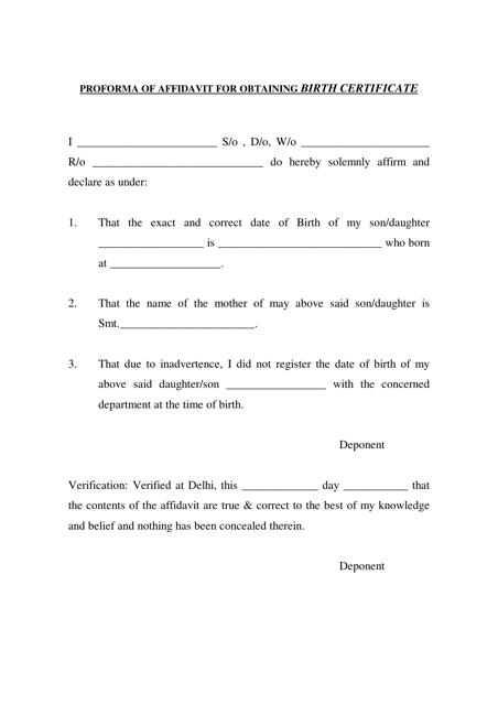 """Proforma of Affidavit for Obtaining Birth Certificate"" Download Pdf"