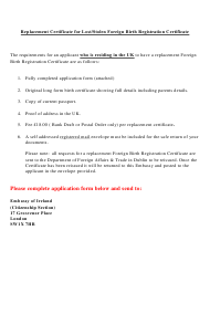 Replacement Certificate Form for Lost/Stolen Foreign Birth Registration Certificate - Ireland