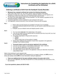 """Certificate of Birth Form"" - Kandiyohi County, Minnesota, Page 3"